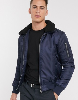 French Connection padded bomber jacket with removable borg collar-Navy