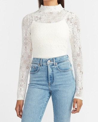 Express Sheer Lace Mock Neck Long Sleeve Tee