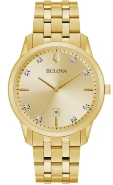 Bulova Men's Sutton Diamond-Accent Gold-Tone Stainless Steel Bracelet Watch 40mm