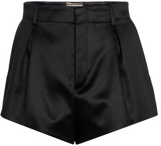 Saint Laurent Cotton-blend satin shorts