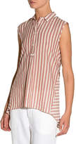 Eleventy Striped Cotton Sleeveless Trapeze Top