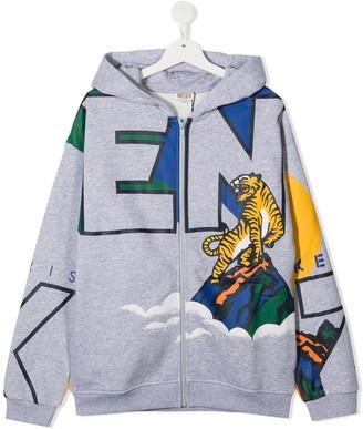 Kenzo Kids TEEN tiger print zip-up hoodie