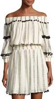 philosophy Off-The-Shoulder Pompom Dress, Ivory