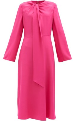 Valentino Tie-neck Cady Midi Dress - Pink
