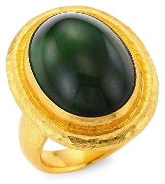 Gurhan 24K Gold & Green Toumaline Ring
