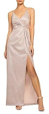 Aidan Mattox Metallic Knit Twist Gown