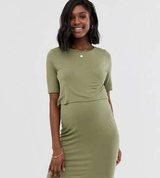 New Look Maternity double layer nursing dress in khaki-Green