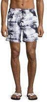 Sundek Palm Tree Printed Drawstring Board Shorts