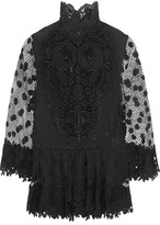 Elie Saab Cape-back Guipure Lace Top - Black