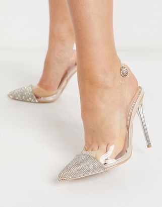 Be Mine Bridal Rania heeled shoes with embellished toes in clear