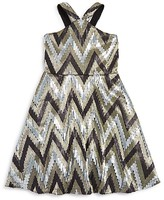 Flowers by Zoe Girls' Zigzag Sequined Metallic Jersey Dress - Sizes S-XL