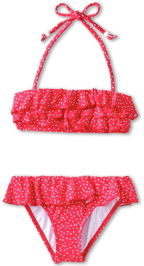Seafolly Bon Voyage Ruffle Tube Bikini (Little Kids/Big Kids) (Cherry) - Apparel