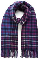 Mulberry Large Check Lambswool Scarf Violet Lambswool