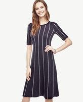 Ann Taylor Pinstripe Flare Sweater Dress