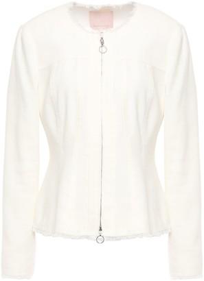 Rebecca Taylor Frayed Linen-blend Twill Peplum Jacket