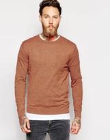 Asos Crew Neck Jumper In Orange Twist Cotton