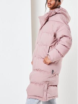 Missguided Longline Padded Coat - Mocha