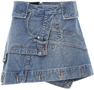 Alexander Wang Deconstructed Cotton Denim Mini Skirt
