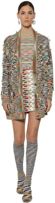 Missoni Fringed Wool Knit Intarsia Maxi Cardigan