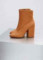 Dries Van Noten orange glitter ankle boot