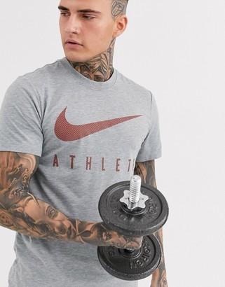 Nike Training athlete swoosh t-shirt in grey