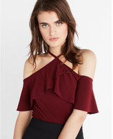 Express cold shoulder halter ruffle tee