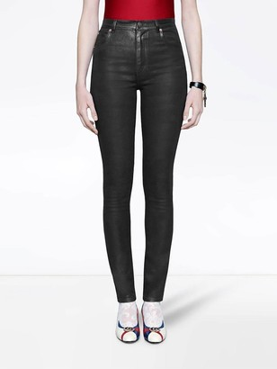 Gucci Coated Denim Skinny Jeans