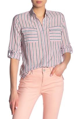Seven7 Striped Long Sleeve Button Front Shirt