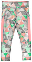 Mayoral Geometric Paneled Ponte Leggings, Coral/Aqua, Size 8-16