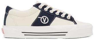 Vans White and Navy OG Sid LX Sneakers