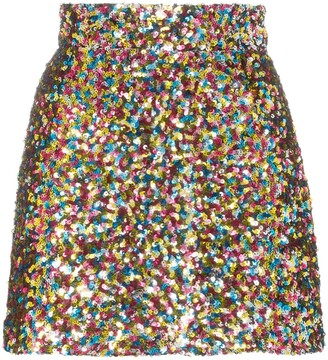 The Attico Sequin-Embellished Mini Skirt