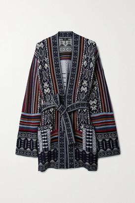 Etro Belted Wool-blend Jacquard Cardigan - Navy