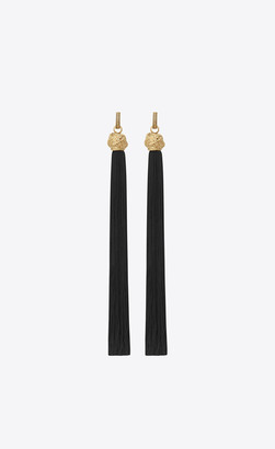 Saint Laurent Earrings Loulou Tassel Earrings In Gold And Black Mat Black Onesize