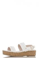 Quiz White Braid Detail Strappy Flatforms