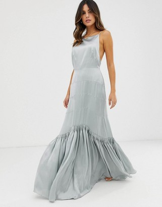 Asos Edition EDITION panelled maxi dress with pleat hem detail-Grey