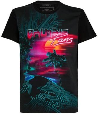 Balmain Neon Sunset Logo T-Shirt