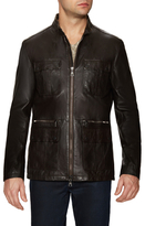 Leather Stand Collar Field Jacket