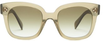 Celine Oversized D-frame Acetate And Metal Sunglasses - Womens - Dark Green