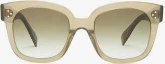 Celine Oversized Square Acetate And Metal Sunglasses - Dark Green