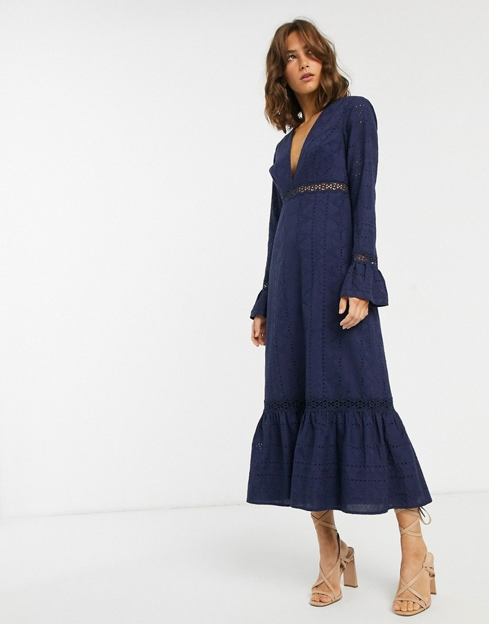 ASOS DESIGN plunge broderie maxi dress with pephem and fluted sleeves in navy