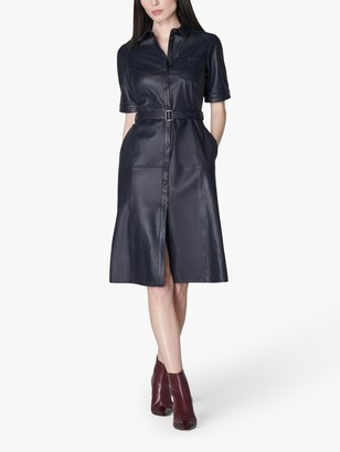 LK Bennett Gaia Leather Shirt Dress, Midnight Blue