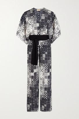 JALINE + Net Sustain Natasha Belted Printed Voile Jumpsuit - Black