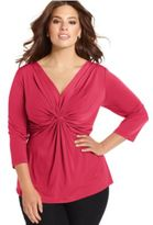 NY Collection Plus Size Three-Quarter-Sleeve Twist-Front Top