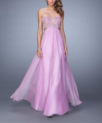 La Femme Women's Special Occasion Dresses Lavender - Lavender Lace-Accent Cutout Strapless Gown - Women