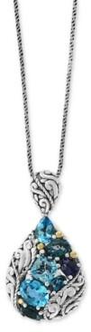 """Effy Multi-Gemstone Teardrop 18"""" Pendant Necklace (6 ct. t.w.) in Sterling Silver & 18k Gold-Plate"""