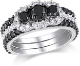 Ice Julie Leah 2 CT TW Black and White Diamond 10K White Gold 3-Band Bridal Set