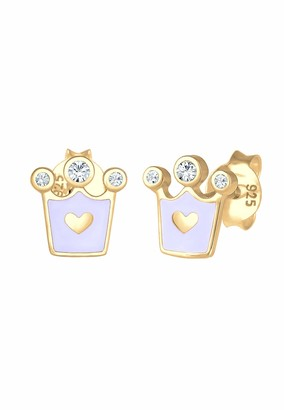 Elli Children's 925 Sterling Silver Crown Heart Earrings