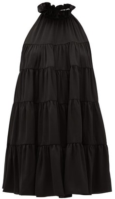 Rhode Resort Billy Tiered Satin Mini Dress - Womens - Black