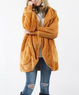 Lydiane Women's Non-Denim Casual Jackets DESERTMUSTARD - Desert Mustard Faux Fur Pocket Cocoon Hooded Jacket - Women