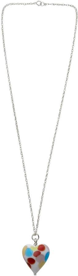 Genuine Murano Glass Multi Rialto Heart Pendant on Sterling Silver Chain 44.4cm length